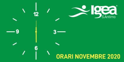 Dal 2 novembre chiusura anticipata ore 18.00
